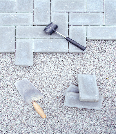 Stone blocks for paving laying down background